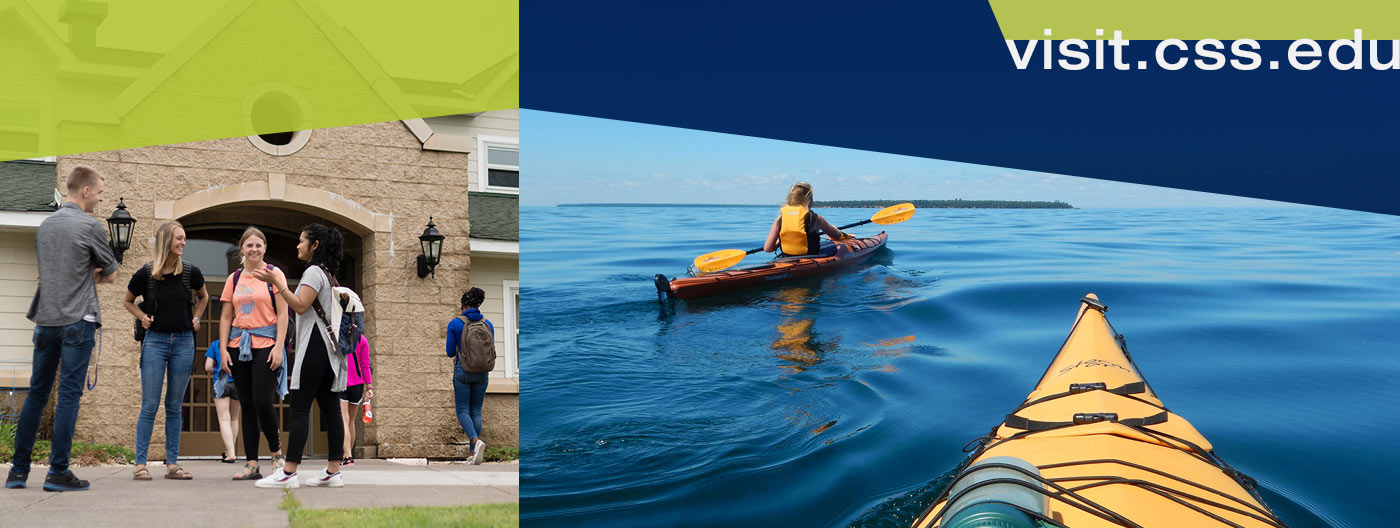 Students in front of the apartments on the Duluth campus and two students kayaking on Lake Superior.