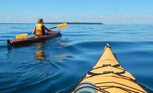 Students kayaking on Lake Superior