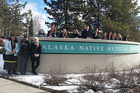 Andrea Simek DNP, RN, Assistant Professor and Sue Mattson RN, MSN, Assistant Professor with students at the Alaska Native Medical Center. (2016)