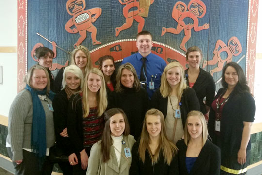 Andrea Simek DNP, RN, Assistant Professor with Michael Spoden BSN, RN '16 and other students touring the Alaska Native Medical Center. (2016)