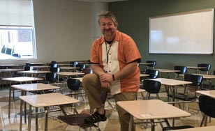 Wade Petrich pictured in the classroom where he teaches.