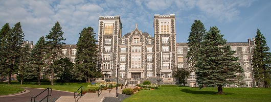 Exterior view of Tower Hall on the St. Scholastica Duluth campus