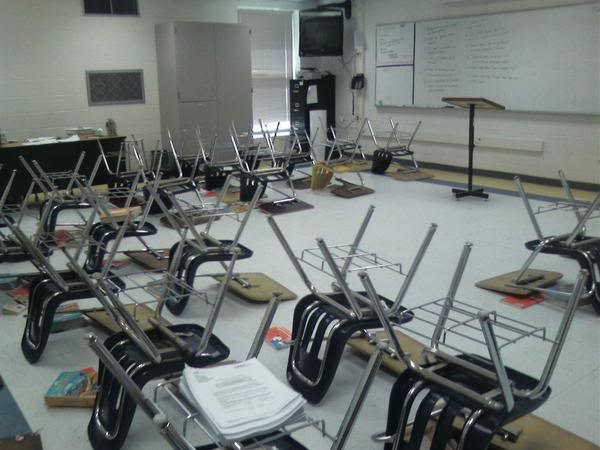 Flipped chairs in a classroom
