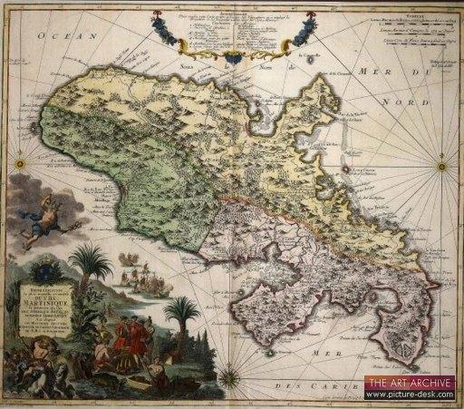18th century map of Martinque