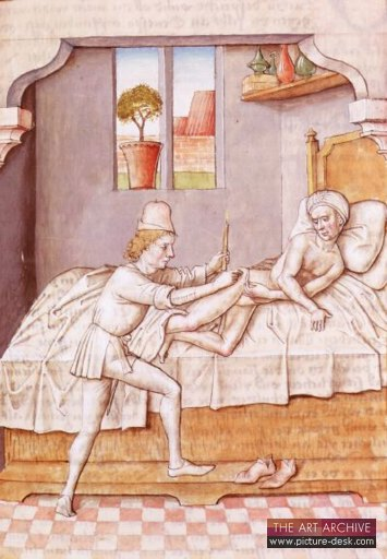 Invalid treated by medieval doctor