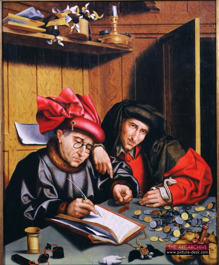 """The Money Changer,"" by Quentin Metsys, [1466-1530]."