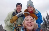 Three Students Dog sledding