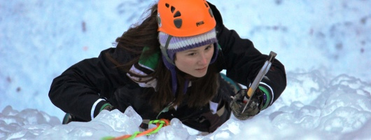 Hannah Ice Climbing at Robinson Park in Sandstone MN