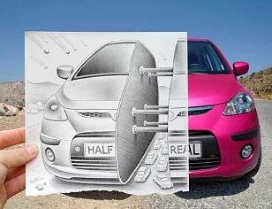 © 2017 Ben Heine, A Pink Car