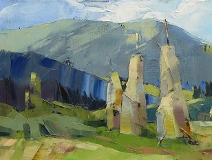 © 2018 Lesya Ros, Haystacks in the mountains