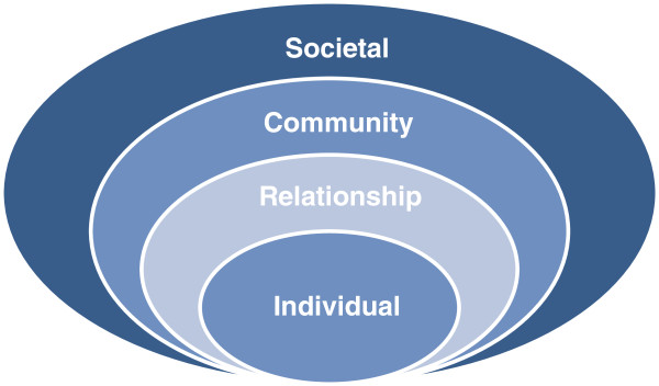 concentric circles with the smallest as individual, then relationship, then community and the largest is societal