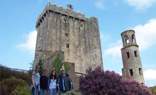 Group of students standing in front of Blarney Castle in Ireland