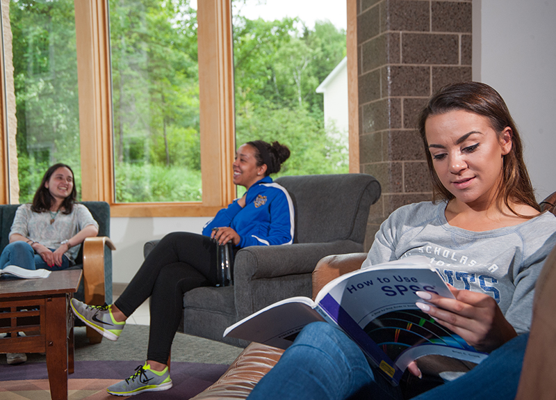 Students study in a residence hall lounge.