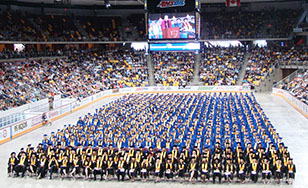 The Spring 2017 graduates lined up in the Amsoil Arena.