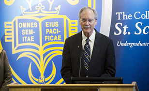 President Larry Goodwin announces his retirement at an April 22 press conference.