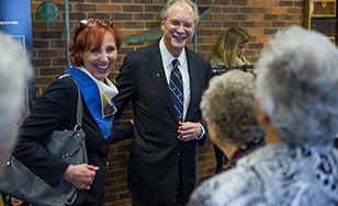 President Goodwin and his wife Anette at the press conference announcing his retirement.