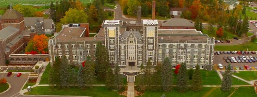 Aerial view of Tower Hall on the Duluth Campus