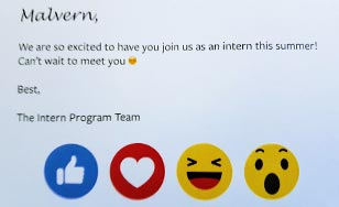 Email greeting from the Intern Program Team at Facebook to Malvern